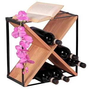 WOHNLING Weinregal Massiv-Holz Akazie Flaschenregal Standregal für ca. 16 Flaschen mit Metallrahmen