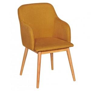 WOHNLING Retro Esszimmerstuhl Curry Polsterstuhl Stoff-Bezug Rückenlehne Design Küchen-Stuhl mit Arm