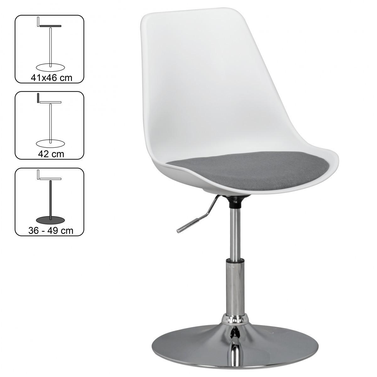 Bild 2 von AMSTYLE KORSIKA | Drehsessel Esszimmerstuhl Weiß/Grau | Drehstuhl höhenverstellbar | Drehhocker Wart