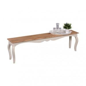 WOHNLING Vintage Esszimmerbank Weiß massiv 160 x 35 cm | Küchenbank aus Mango Massivholz | Opium Sit