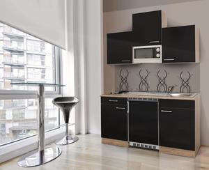 respekta Economy Küchenblock 150 cm, schwarz GKKM