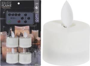 LED Teelicht Set - 4 Stück, mit Fernbedienung, weiß