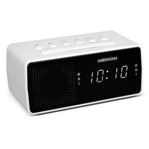 MEDION LIFE® E66407, PLL Uhrenradio, LED-Display, Displaydimmer, PLL-UKW-Radio, 10 Senderspeicher, Einschlafautomatik, weiß