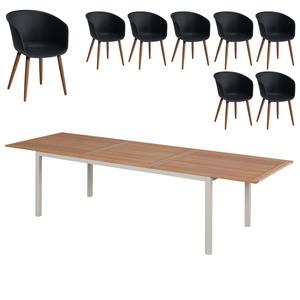 Gartenmöbel-Set Sacramento/Ontario (ausziehbar, 8 Stühle, anthrazit)