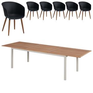 Gartenmöbel-Set Sacramento/Ontario (ausziehbar, 6 Stühle, anthrazit)