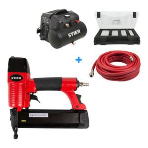 STIER Kompressor MKT 200-8-6  + Druckluftnagler SKN-15/50 + Druckluftschlauch SSDL-10/10 + 8000 Stauchkopfnägel