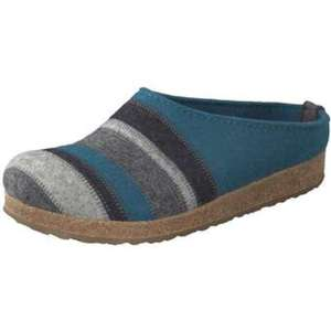 Haflinger Grizzly Stripes Pantoffel Damen blau
