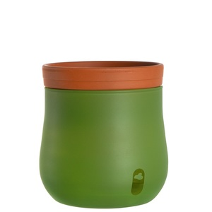 LEONARDO Blumentopf /Pflanztopf L mit Selbstbewässerung Grün/Terracotta