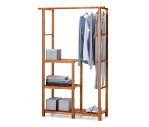 Universal-Massivholz-Ordnungsregal inkl. Kleiderstange