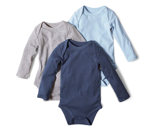 3 Langarm-Bodys aus Bio-Baumwolle, grau meliert, mittelblau, dunkelblau