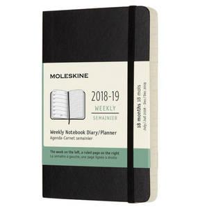 Moleskine             18 Monate Wochen Notizkalender 2018/2019, DIN A6, 1 Wo = 1 Seite, Schwarz