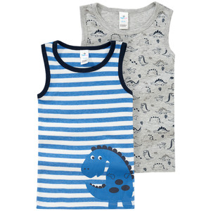 2 Baby Unterhemden mit Dino-Print