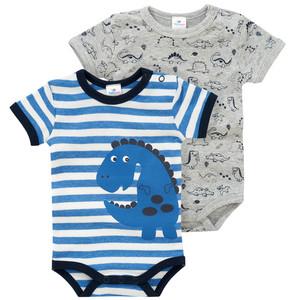 2 Baby Bodys mit Dino-Print