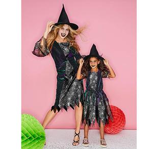 Hexen-Kostüm für Erwachsene mit spitzem Hut