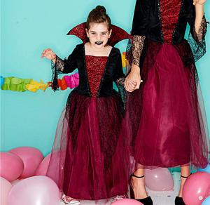 Vampirprinzessin-Kinderkostüm mit Stehkragen