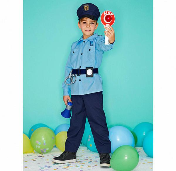 Polizist-Kinderkostüm mit Hut und Gürtel