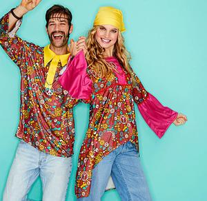 Hippie-Kleid für Erwachsene in knalligen Farben