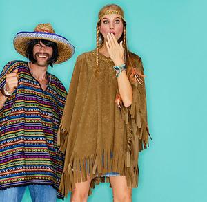 Poncho-Kostüm für Erwachsene inklusive Haarband