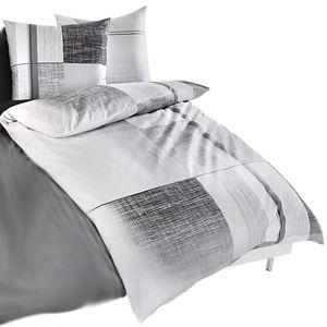Kaeppel Satin-Bettwäsche Weave, grau/weiß