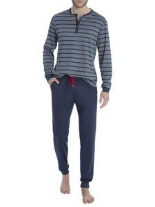 Calida Bündchen-Pyjama mit Ringeldessin, grau, stormy grey