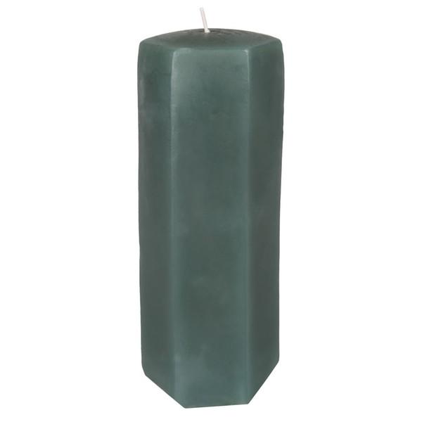 Kerze, Hexagon, grün, 5,5 x 11,5 cm, S