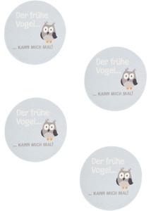 """Untersetzer """"Eule mit Spruch"""" (4er-Pack)"""