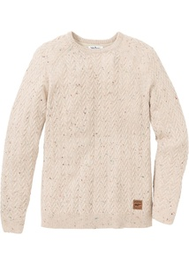 Rundhals-Pullover mit Zopfmuster Regular Fit