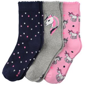 3 Paar Mädchen Socken mit Einhorn-Motiv
