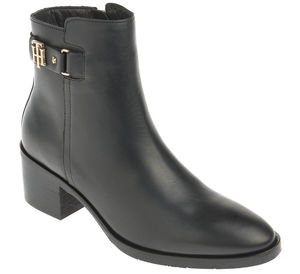 Tommy Hilfiger Stiefelette - TH BUCKLE MID HEEL BOOT LEATHER