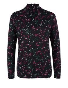 s. Oliver - Shirtbluse mit gesmoktem Stehkragen