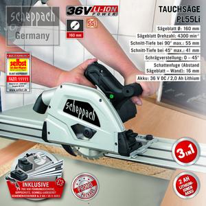 Scheppach Akku-Tauchsäge PL55Li 160mm - Black Edition
