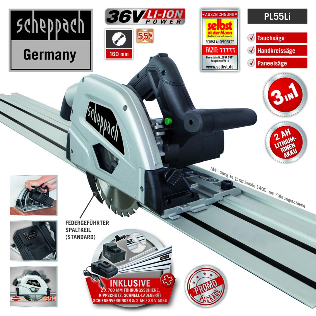 Bild 2 von Scheppach Akku-Tauchsäge PL55Li 160mm - Black Edition