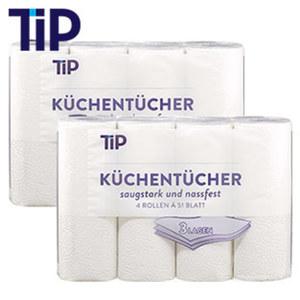 Küchentücher 3-lagig, jede 4 x 51-Blatt-Packung, ab 2 Packungen je
