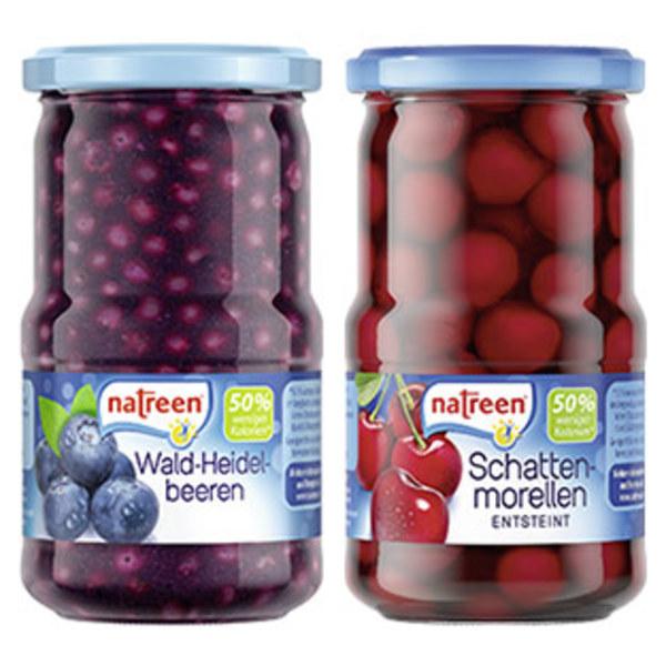 Natreen Schattenmorellen und weitere Sorten, jedes 370-ml-Glas/185/125 g Abtropfgewicht