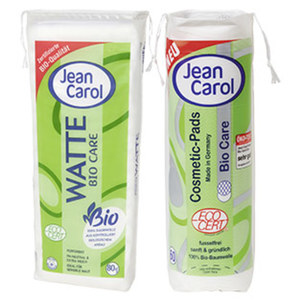 Jean Carol Bio Care Watte 80 g oder Cosmetic-Pads 60er, jede Packung