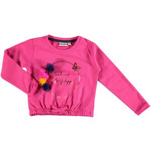 Mädchen Sweatshirt mit Glitzer Print und Pompons
