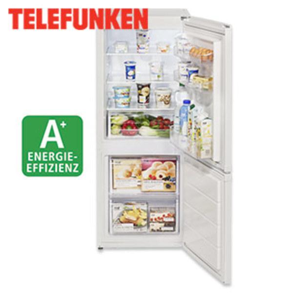 Kühl-Gefrierkombination TFKG632 A+ · 133 Liter Nutzinhalt Kühlen · 67 Liter Nutzinhalt Gefrieren · Maße: H 136,0 x B 54,0 x T 59,5 cm · Energie-Effizienz A+ (Spektrum: A+++ bis D)