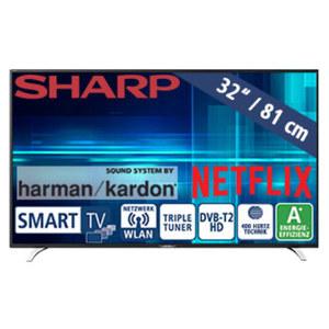 """32""""-LED-HD-TV LC-32HI5232E Auflösung 1366 x 768 Pixel, 100-Hz-Technik, 3 HDMI-/2 USB-Anschlüsse, CI+, Stand-by: 0,5 Watt, Betrieb: 31 Watt, Maße: H 43,1 x B 73,2 x T 8,4 cm, Energie-Effizienz A+ ("""