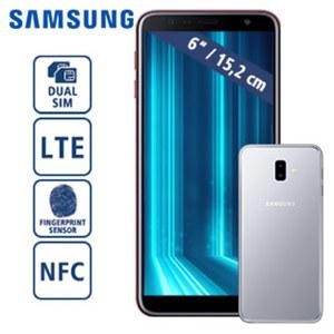 Smartphone Galaxy J6+ DUOS J610 · HD+-Display · Frontkamera 8 MP · Dual-Rückkamera 13 + 5 MP · 3-GB-RAM, 32-GB-Speicher · microSD™-Slot bis zu 512 GB · nanoSIM · Android™ 8.1
