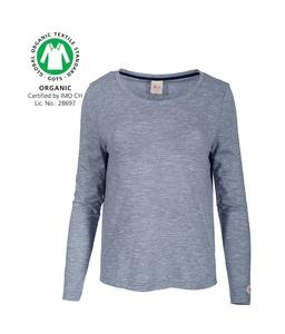 Langarmshirt dunkles blau melange Gr. XL aus Bio-Baumwolle