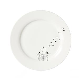 Zauberwerk - 'Lovebirds' Frühstücksteller ø 20,5 cm, weiß/schwarz (1 Stück); 56464