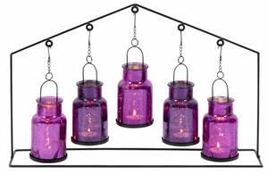 Villa Teelichthalter Set aus Glas inkl Metallgestell