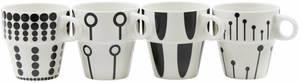 Villa Noblesse Kaffebecher Tassen, 4er Set, schwarz/weiß, 4 verschiedene Motive, 230ml