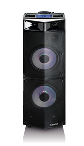 Lenco PMX-300High Power DJ Mixer System mitBluetooth, USB, FM und Party Lights