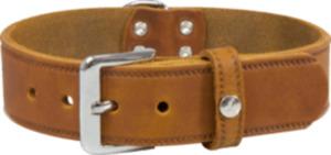 Das Lederband Hundehalsband Weinheim, Kastanie, Breite 20 mm / Länge 42 cm
