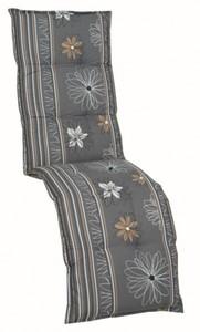 GO-DE Relax-Auflage ,  anthrazit-floral, 170 x 50 x 8 cm