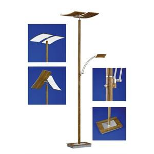 B-Leuchten LED Deckenfluter mit Leselampe DUO Holzoptik mit Nickel