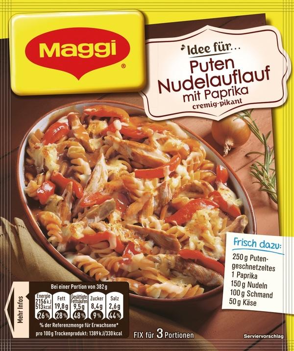 Maggi Idee für Puten-Nudelauflauf mit Paprika 39 g