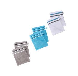 Home Waschhandschuh mit farbiger Bordüre, ca. 16x21cm, 2er Pack