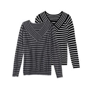 Laura Torelli COLLECTION Damen-Pullover mit Ringelmuster